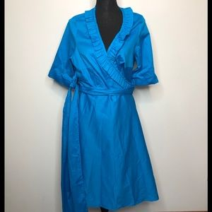 Eliza Parker Blue Short Sleeve Wrap Midi Dress 10